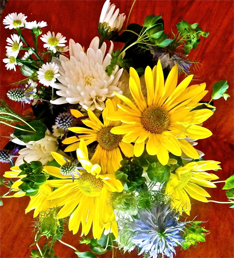 flower arrangement on table