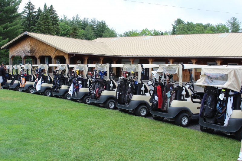 large amount of golf carts lined up