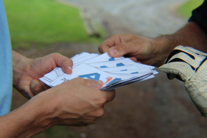 exchanging of paper cards