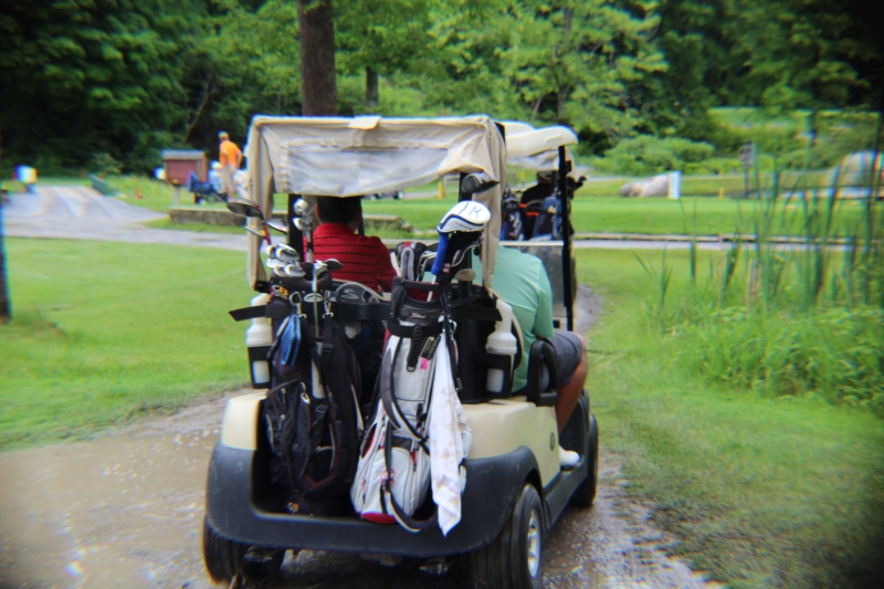back view of golf cart