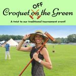 Croquet off the Green image of woman wearing hat and holding croquet mallet over her shoulder