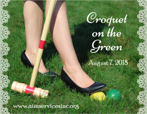 Croquet on the Green logo woman's foot on ball ready to hit with mallet August 7, 2018