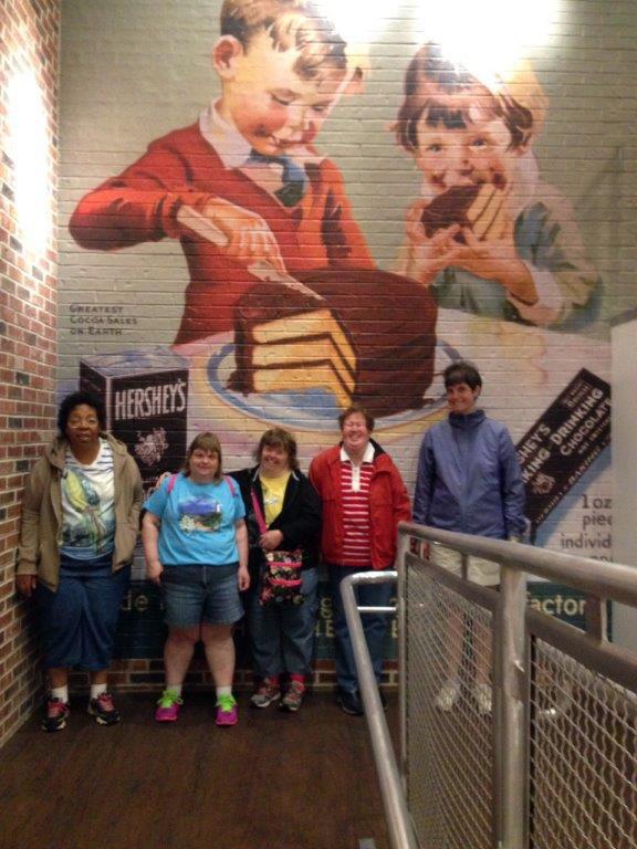 Ladies inside Hershey's Chocolate World