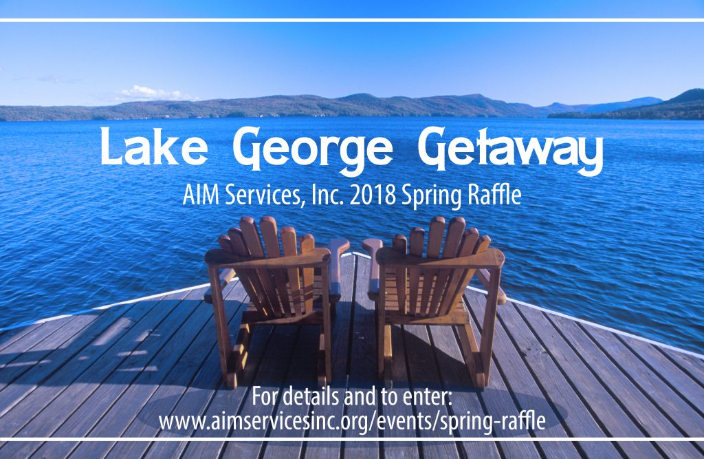 "Picture of two adirondack chairs overlooking lake george with text ""lake george getaway"""