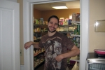 Meet Mark at wine rack, organic grocery store