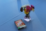 flower arrangement and scrabble