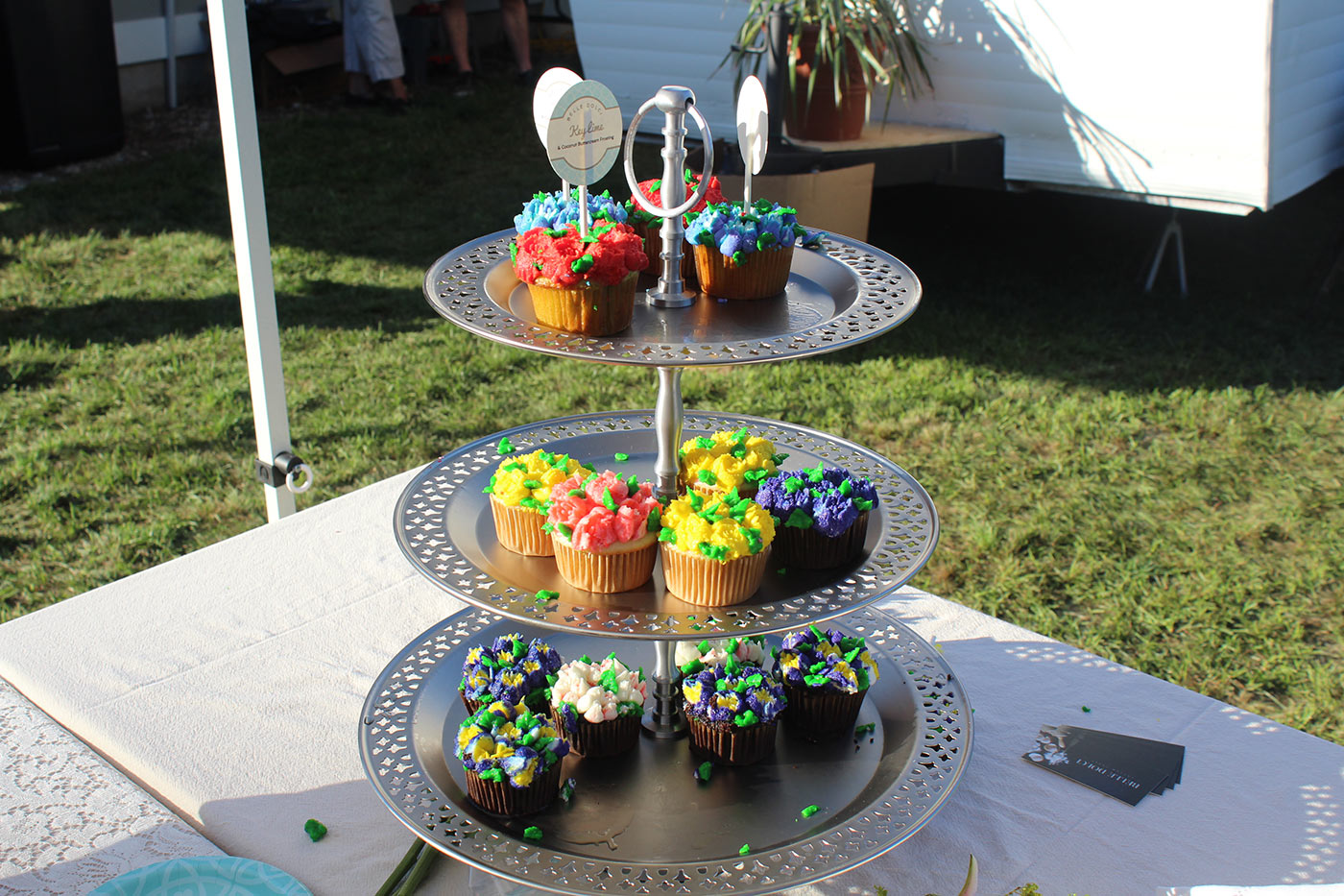 cupcake tower on table