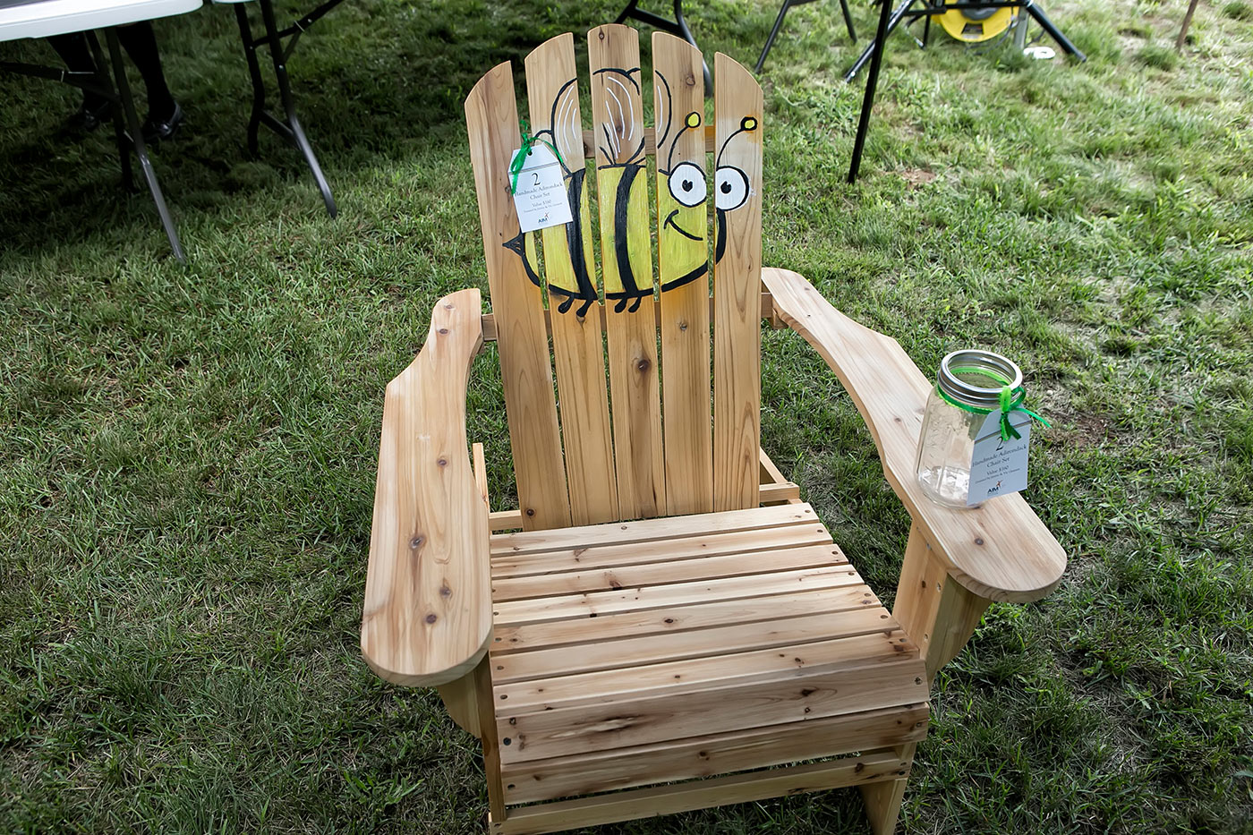 adirondack chair with bumble bee