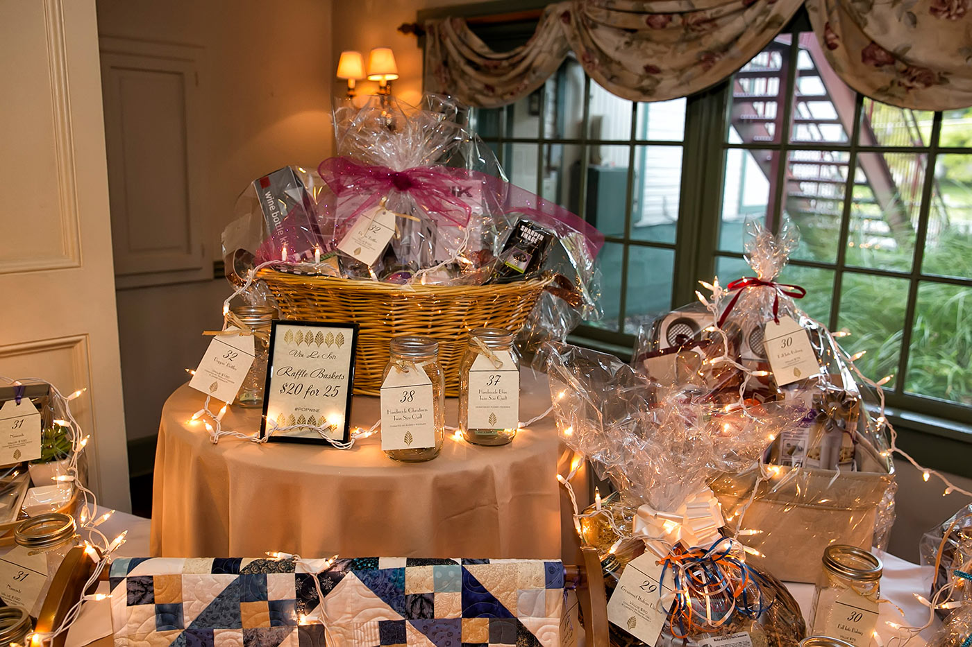 nicely decorated raffle basket