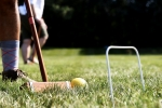 Close up of croquet mallet and ball at Croquet on the Green