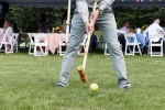 Retired Hall of Fame Jockey Ramon Dominguez playing Croquet at Croquet on the Green