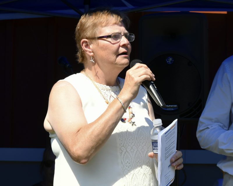 Executive Director June MacClelland speaking at Croquet on the Green