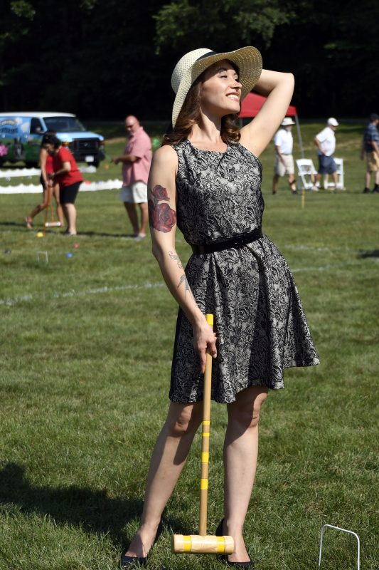 Women in dress at the Croquet on the Green