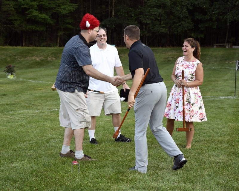 Croquet on the Green winner handshake
