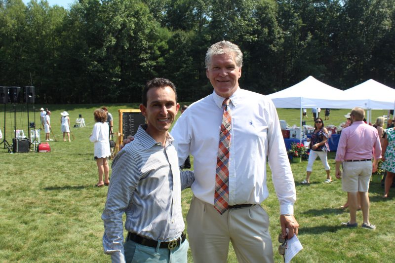 Retired Hall of Fame Jockey Ramon Dominguez with AIM Director of Public Relations Walt Adams at Croquet on the Green to support AIM Services