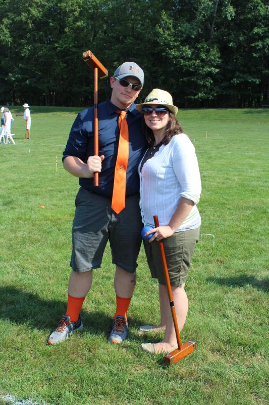 Couple at Croquet on the Green - main with orange tie and socks