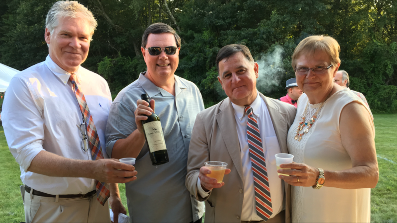 Walt Adams, Director of Public Relations; AIM Board member, sponsor, and owner of Specialty Wines & More, Brian Gwynn; Senior Director and Counsel, Chris Lyons; Executive Director, June MacClelland at Croquet on the Green