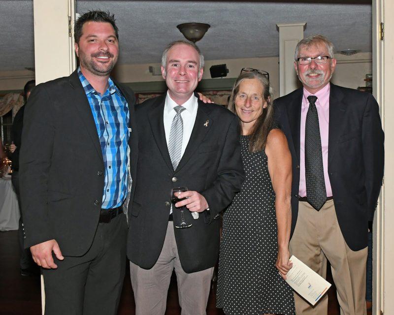 Nick Miner, Mathew Vietch, Cheryl Smith, Peter Goutos enjoying the Vin Le Soir event