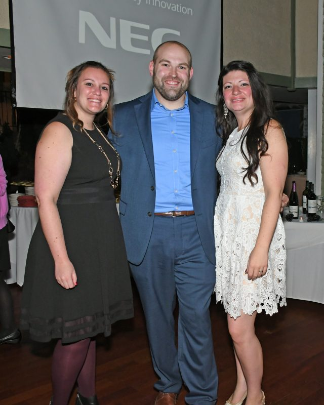 Aura Englese, Josh Phelps, Sarah Papenhausen enjoying the Vin Le Soir event