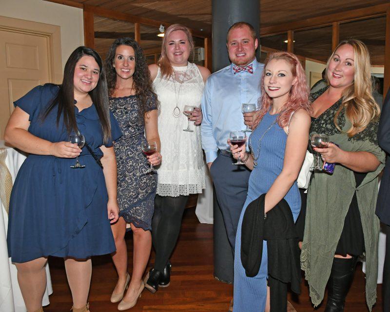 Ashley Stark, Kristi Williams, Amber Suttle, Damon Casey, Katherine Mackay, Brooke Mattison enjoying the Vin Le Soir event