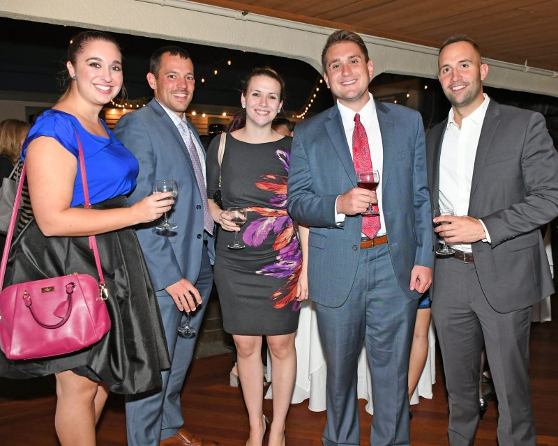 Kelly Richards, Joe Lindner, Samantha Burrington, Dan O'Keefe, Ryan Duff enjoying the Vin Le Soir event