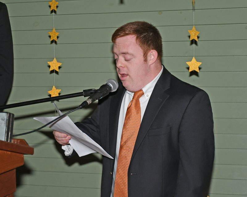 Self Advocate Connor speaking at the Vin Le Soir event