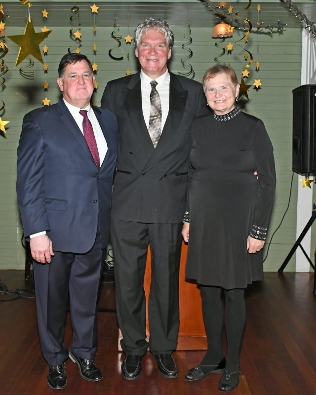 Senior Director & Counsel Christopher Lyons, Director of Public Relations Walt Adams, Executive Director June MacClelland at the Vin Le Soir event