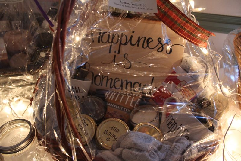 Basket raffle basket with sign Happiness is Homemade