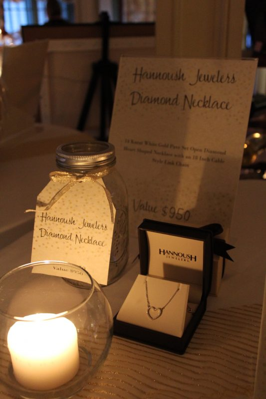High end raffle item Hannoush Jewelers diamond heart shaped necklace at the Vin Le Soir event
