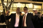 Ryan Duff, Dan O'Keefe with raised wine glasses at the Vin Le Soir event