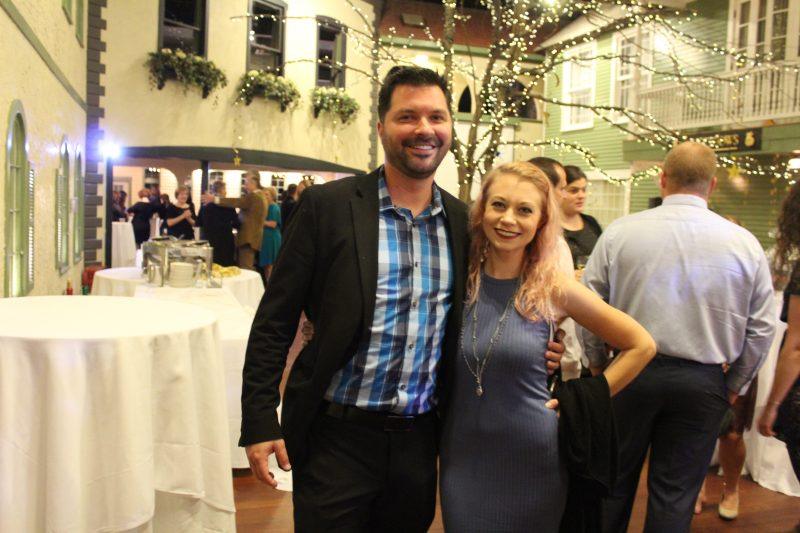 Nick Miner, Katherine Mackay enjoying the Vin Le Soir event
