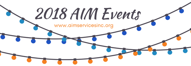 2018 aim events banner with graphic of a string of lights