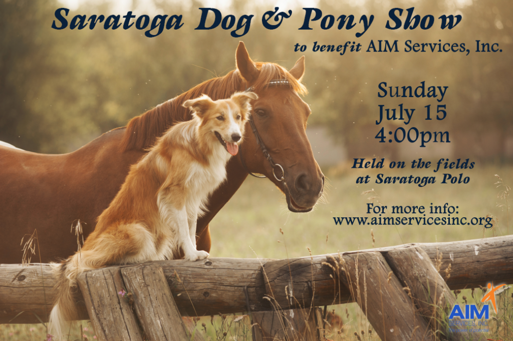 dog and horse sitting together with text Saratoga Dog & Pony Show
