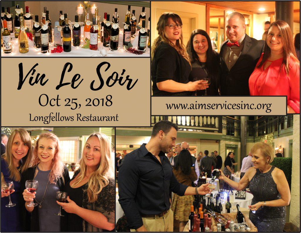 collage of people cheerfully drinking wine with text Vin Le Soir