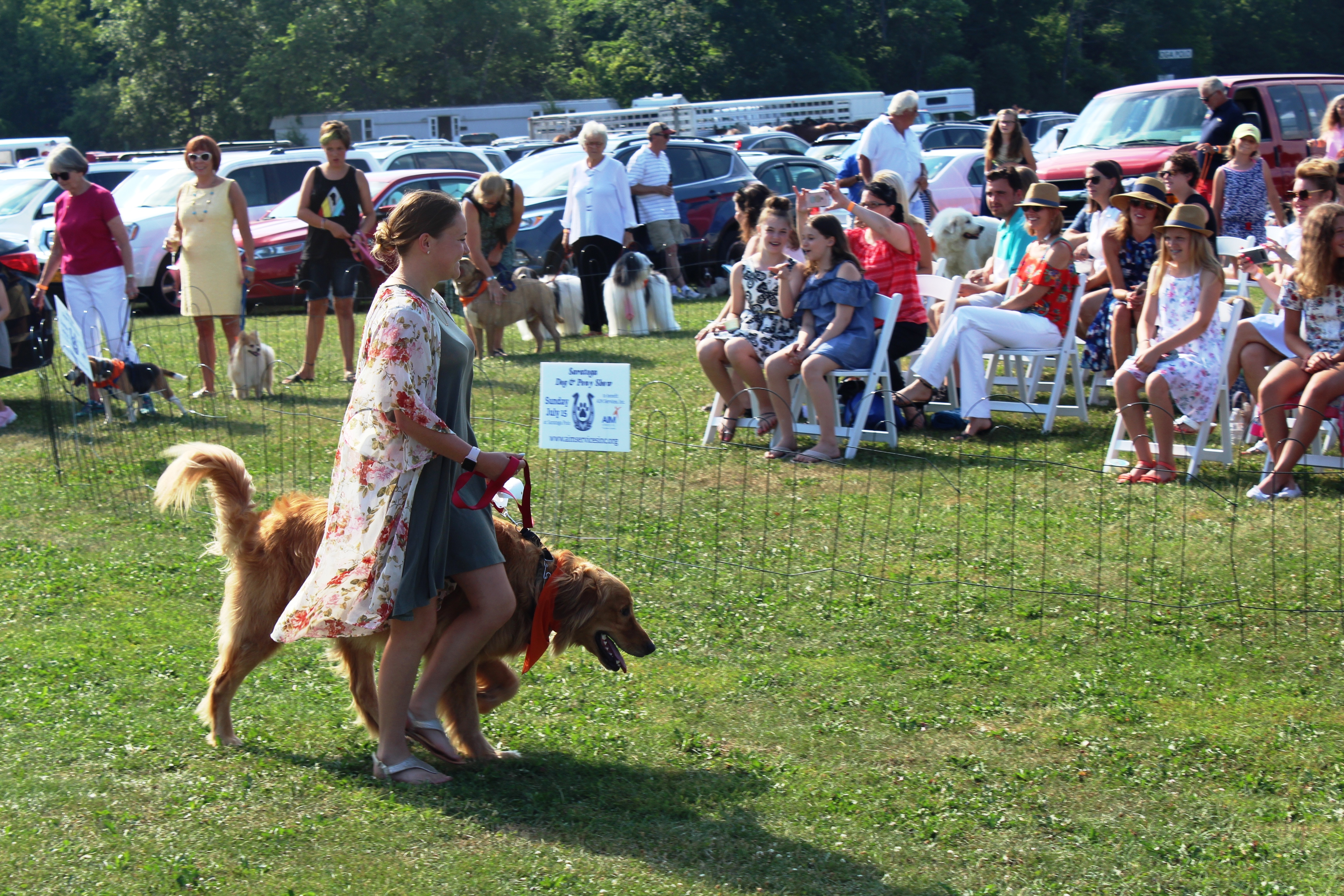 Woman walking dog at the Saratoga Dog & Pony Show to benefit AIM Services, Inc.