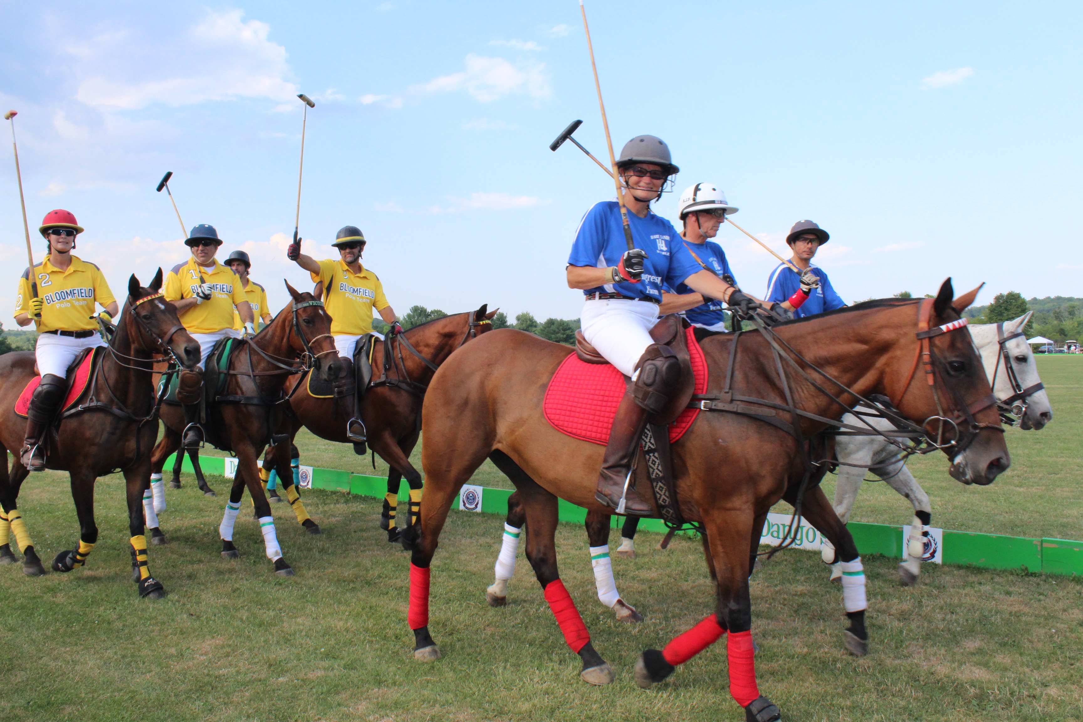 Polo players on horses at the Saratoga Dogs Pony Show to benefit AIM Services, Inc.