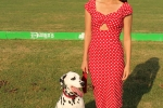 Woman in polka dot dress with dalmation at the Saratoga Dogs Pony Show to benefit AIM Services, Inc.