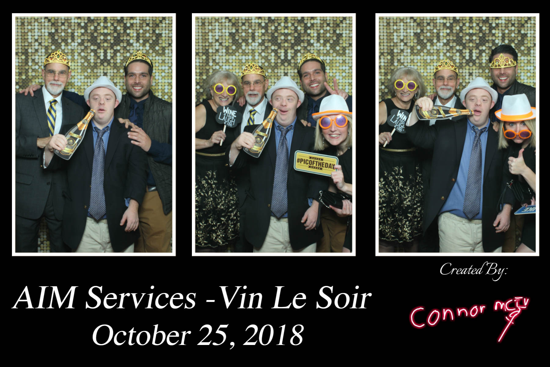 Vin Le Soir to benefit AIM Services, Inc. photo booth picture of five people