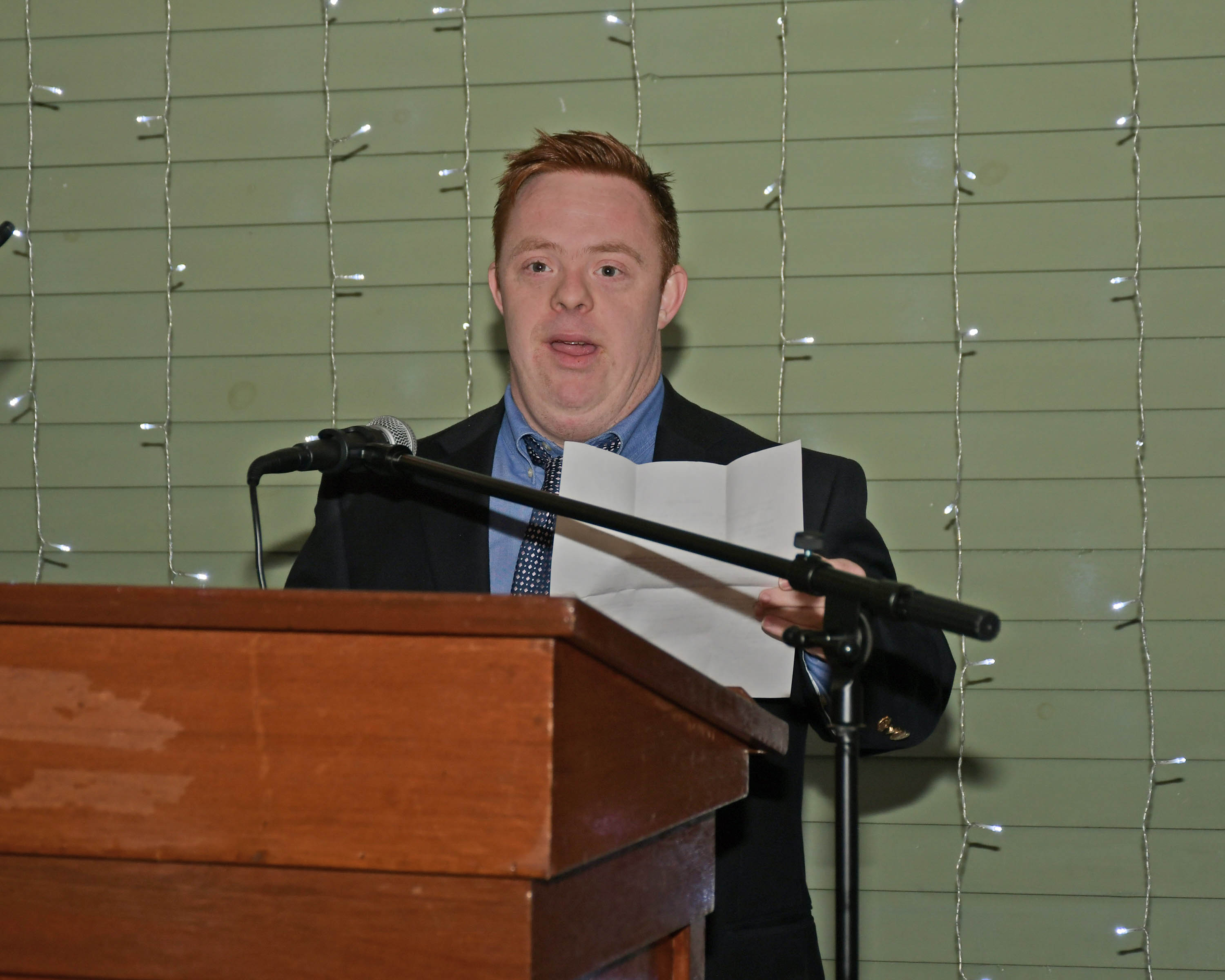 Vin Le Soir to benefit AIM Services, Inc. Connor, individual served, speaking