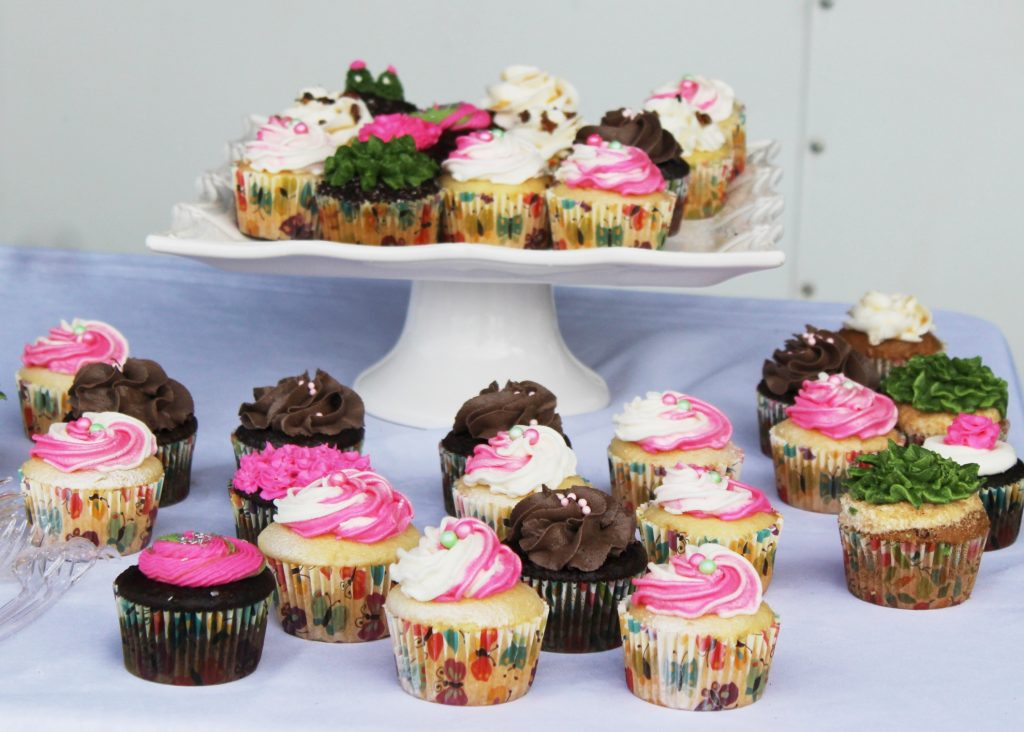 Pink, white, and green frosted cupcakes at AIM Services Croquet on the Green event