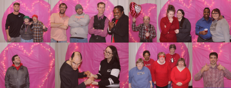 Group of images of people standing in front of a light up heart