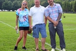 Group of three people smiling at Croquet on the Green 2019