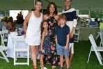 Group of three adults and two children at Croquet on the Green 2019