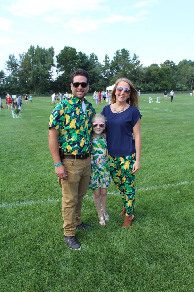 Family wearing banana themed clothing at Croquet on the Green 2019