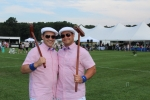 Two men in matching croquet outfits at Croquet on the Green 2019