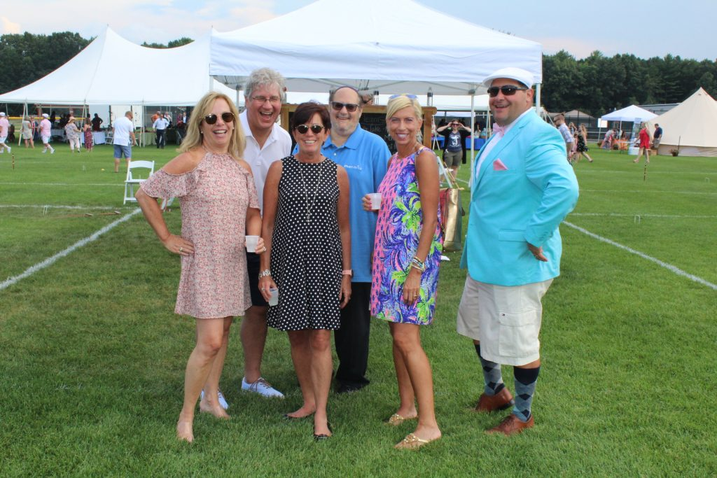 Group of six people from Pharmerica smiling together at Croquet on the Green 2019