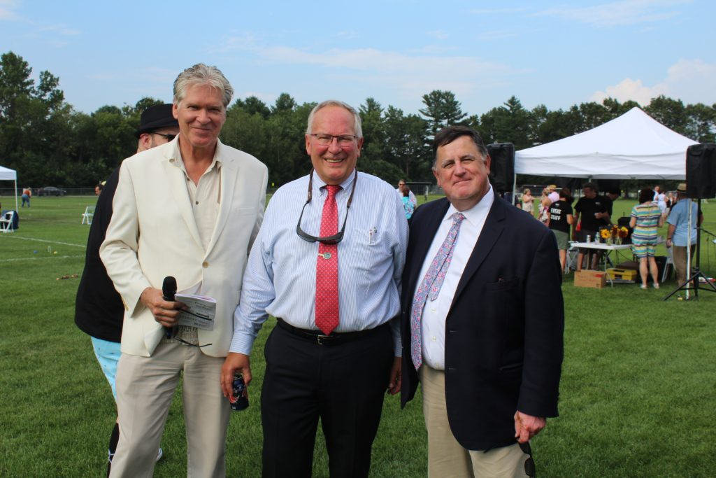 L-R: Walt Adams, Tom Flynn of Jaeger & Flynn Associates, and Chris Lyons pose together on the croquet fields at Croquet on the Green 2019