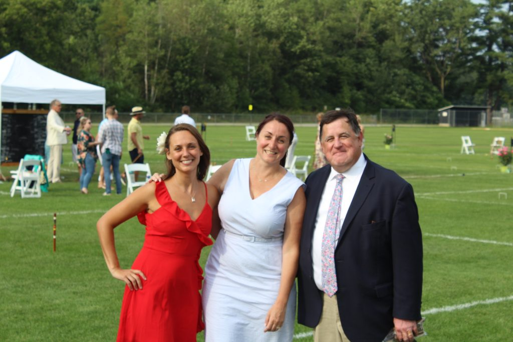 L-R: Marissa Romero, Tara Anne Pleat, Chris Lyons together smiling at Croquet on the Green 2019