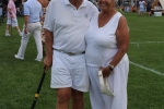 Couple in all white outfits at Croquet on the Green 2019