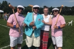 June MacClelland and group of three men dressed up with croquet mallets at Croquet on the Green 2019